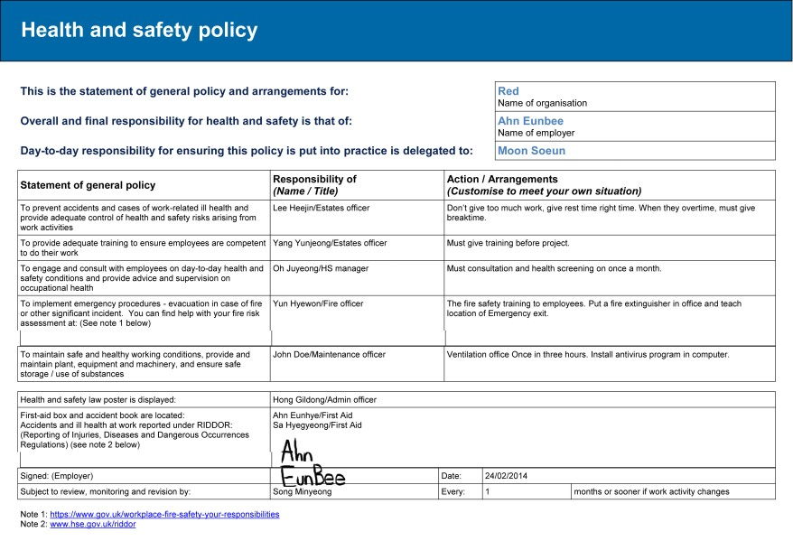 Safety Statement And Risk Assessment Health And Safety